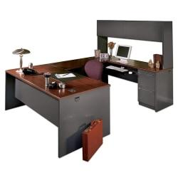 HON(R) 38000 Modular 72in.W Desk Shell, Mahogany/Charcoal