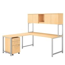 Bush Business Furniture 400 Series L Shaped Desk And Hutch With 42in.W Return And 3 Drawer Mobile File Cabinet, Natural Maple, Premium Installation