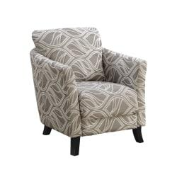 Monarch Specialties Box Seat Accent Chair, Taupe Leaf/Black