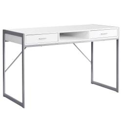 Monarch Specialties Computer Desk With Drawers, White/Silver