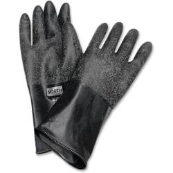 NORTH Butyl Chemical Protection Gloves - Chemical Protection - 8 Size Number - Butyl - Black - Water Resistant, Durable, Chemical Resistant, Ketone Resistant, R