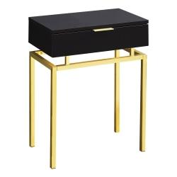 Monarch Specialties Accent Table, Rectangular, Cappuccino/Gold