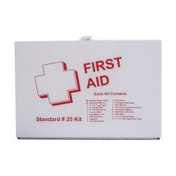 DMI(R) 25-Person Basic First Aid Kit, 10 1/2in.H x 7 1/4in.W x 2 1/2in.D, White