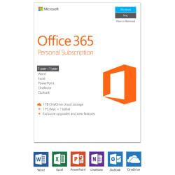 Microsoft(R) Office 365(TM) Personal, Product Key, For 1 PC or 1 Mac and 1 Tablet, including an iPad.