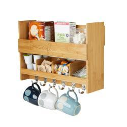 Mind Reader Bamboo Coffee Rack Shelf, Brown