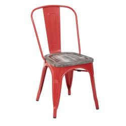 Office Star(TM) Bristow Armless Chairs with Wood Seats, Ash Crazy Horse/Red, Set Of 4 Chairs