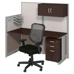 Bush Business Furniture Office In An Hour Straight Workstation With Storage Chair, Mocha Cherry Finish, Premium Delivery
