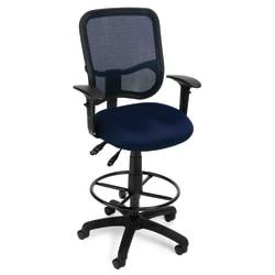 OFM Mesh Comfort Series Ergonomic Fabric Task Chair With Arms And Drafting Kit, Navy/Black