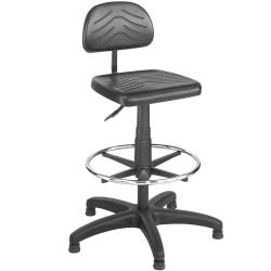 Safco (R) Task Master (R) Economy Workbench Task Stool, 36 to 44in.H x 25in.W x 25in.D, Black Frame, Black Fabric