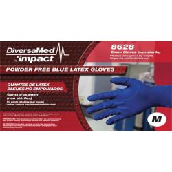 DiversaMed 8mil High-Risk EMS Exam Glove - Medium Size - Latex - Blue - Beaded Cuff, Disposable, Powder-free, Non-sterile, Liquid Resistant, Heavyweight - For C