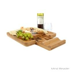 Mind Reader Bamboo Cheese And Snack Tray With Knife Set, 13 3/8in. x 13 3/8in., Brown