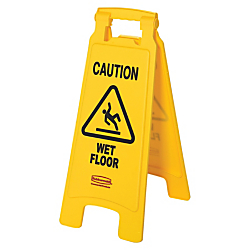 Rubbermaid(R) Caution Wet Floor Safety Sign, 25in. x 11in., Yellow