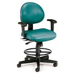 OFM 24-Hour Vinyl Computer Task Chair With Arms And Drafting Kit, Teal/Black
