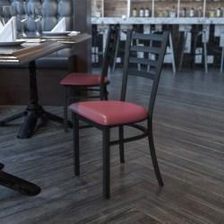 Flash Furniture HERCULES Ladder Back Restaurant Chair, Black/Burgundy