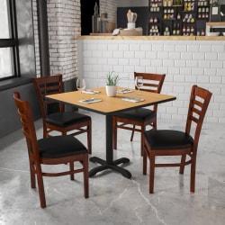 Flash Furniture HERCULES Ladder Back Restaurant Chair, Black/Mahogany