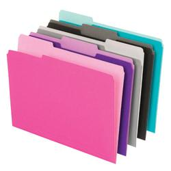 Office Depot(R) Brand Interior File Folders, 1/3 Tab Cut, Letter Size, Assorted, Box Of 100 Folders