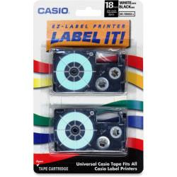 Casio(R) XR18WE2S Black-On-White Tapes, 0.75in. x 26ft., Pack Of 2