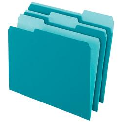 Office Depot(R) Brand 2-Tone Color File Folders, 1/3 Tab Cut, Letter Size, Teal, Pack Of 100 Folders