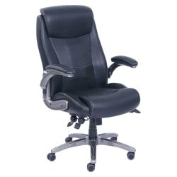 Lorell(R) Revive Bonded Leather High-Back Chair, Black