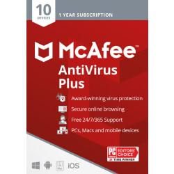 McAfee(R) Antivirus Plus, For 10 Devices, For PC/Mac, eCode