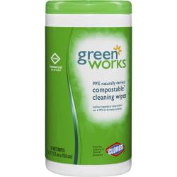 Green Works(R) Naturally Derived Compostable Cleaning Wipes, Container Of 62
