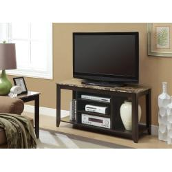 Monarch Specialties Marble-Top TV Stand For TVs Up To 48in., Cappuccino/Cream