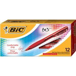 BIC(R) BU3 Grip Retractable Ballpoint Pens, Medium Point, 1.0 mm, Clear Barrel, Red Ink, Pack Of 12