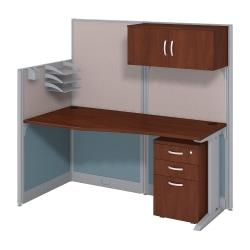 Bush Business Furniture Office In An Hour Straight Workstation with Storage Accessory Kit,Hansen Cherry Finish, Premium Delivery