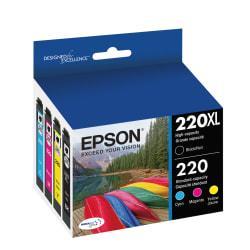 Epson(R) DuraBrite(R) T220XL-BCS High-Yield Black/Standard Yield Cyan/Standard Yield Magenta/Standard Yield Yellow Ink Cartridges, Pack Of 4