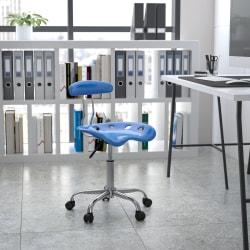 Flash Furniture Vibrant Low-Back Task Chair With Tractor Seat, Bright Blue/Chrome