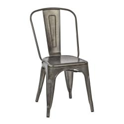 Office Star(TM) Bristow Armless Chair, Matte Galvanized, Set Of 4 Chairs