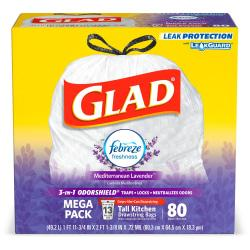 Glad� OdorShield Tall Kitchen Drawstring 0.78-mil Trash Bags, 13 Gallons, White, Pack Of 80 Bags