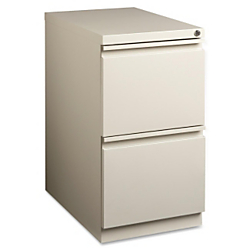 Lorell(R) 22 7/8in.D Mobile Letter-Size Pedestal File Cabinet, File/File, Putty