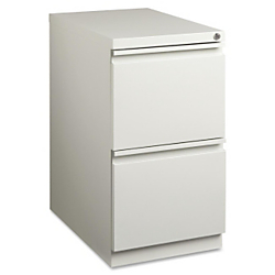 Lorell(R) 22 7/8in.D Mobile Letter-Size Pedestal File Cabinet, File/File, Light Gray
