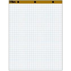 TOPS 1in. Grid Square Easel Pads - 50 Sheets - Stapled/Glued - 16 lb Basis Weight - 27in. x 34in. - White Paper - Perforated, Bond Paper, Leatherette Head Strip