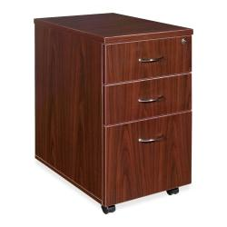 Lorell(R) Essentials Series 22in.D 3-Drawer Mobile Pedestal File Cabinet, Mahogany