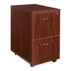 Lorell(R) Essentials Series 22in.D 2-Drawer Mobile Pedestal File Cabinet, Mahogany