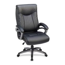 Lorell(R) Bonded Leather High-Back Chair, Black/Gun Metal