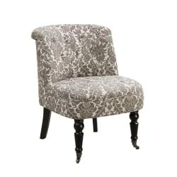 Monarch Specialties Traditional Slipper Accent Chair, Taupe Tapestry/Black
