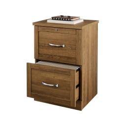 Realspace(R) Premium Letter-Size Vertical File Cabinet, 2 Drawers, Golden Oak