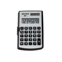 Victor 908 Handheld Calculator - Big Display, Battery Backup, Independent Memory, Rounded Keytop, Dual Power - 8 Digits - LCD - Battery/Solar Powered - 2.9in. x