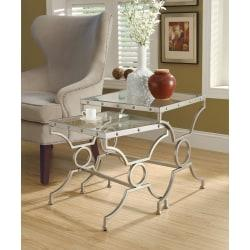 Monarch Specialties 2-Piece Nesting Table Set With Glass Top, Square, Silver Base
