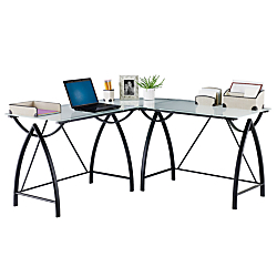 upc 735854930257 product image for realspacer alluna collection glass l shape desk black glass office desk 1