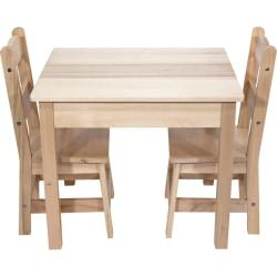Melissa  Doug Wooden Table With Chairs, 20in.H x 23 1/2in.W x 20 1/2in.D, Natural, Pre-K - Grade 2