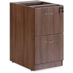 Lorell(R) Essentials Series 22in.D 2-Drawer Fixed Pedestal File Cabinet, Walnut