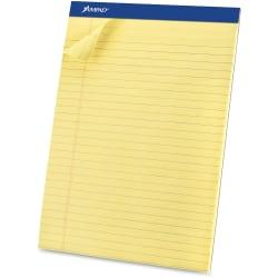 Ampad Basic Micro Perforated Writing Pads, 50 Sheets, Stapled, Wide Ruled, 8 1/2in. x 11 1/2in., Canary Yellow, Pack Of 12