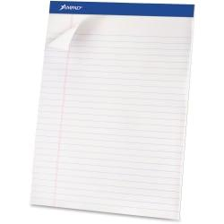 Ampad Basic Micro Perforated Writing Pads, 50 Sheets, Stapled, Wide Ruled, 8 1/2in. x 11 3/4in., White Paper, Pack Of 12