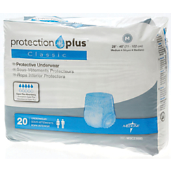 Protection Plus Classic Protective Underwear, Medium, 28 - 40in., White, 20 Per Bag, Case Of 4 Bags