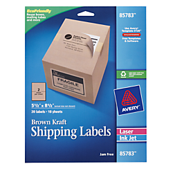 Avery(R) 100% Recycled Brown Kraft Inkjet/Laser 100% Recycled Shipping Labels, Pack Of 20