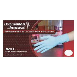 DiversaMed 14mil ProGuard High-Risk EMS Exam Glove - Large Size - Latex - Blue - Disposable, Non-sterile, Beaded Cuff, Powder-free, Ambidextrous - For Medical,